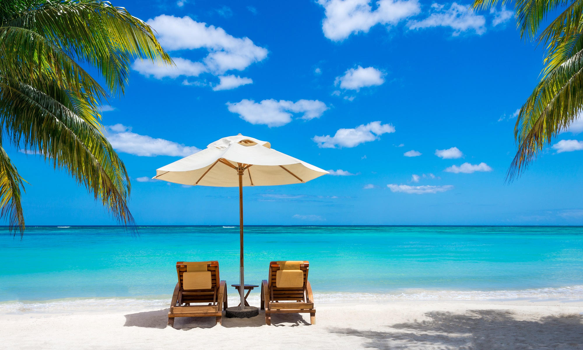 Two lounge chairs and umbrella on white sandy beach with palm trees facing calm blue ocean