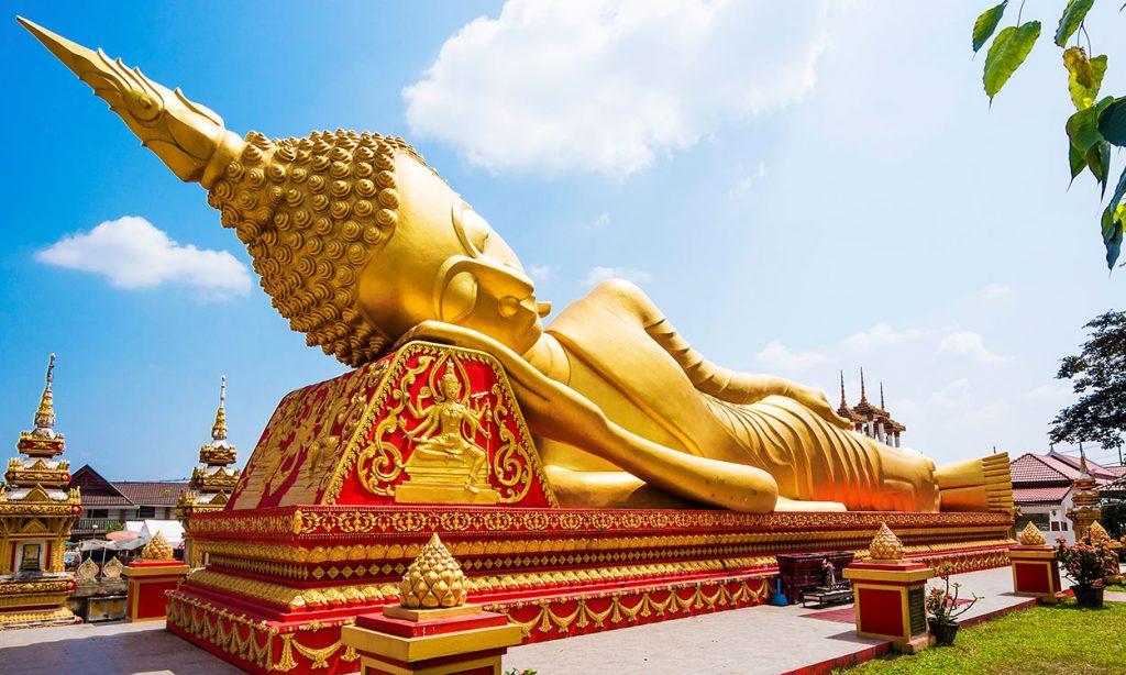 Reclining Buddha Statue at Wat Pha That Luang, Vientiane